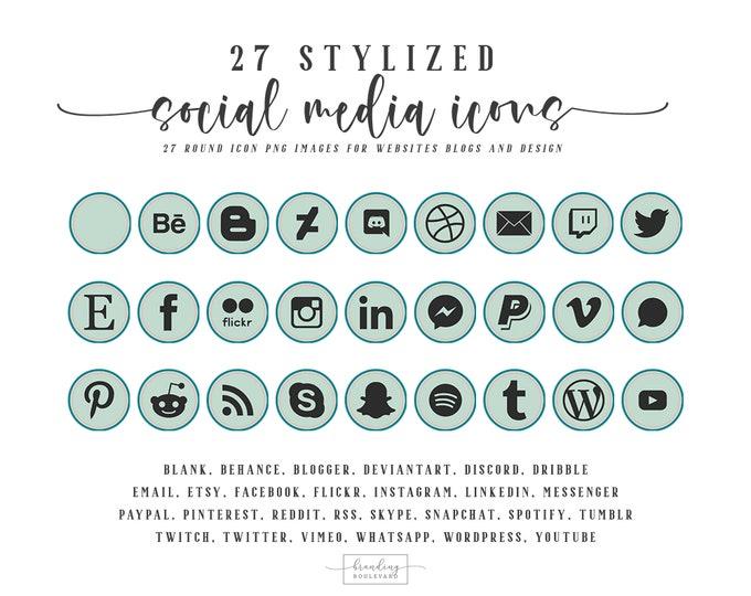 Mint Green Social Media Icons   Icons For Websites Blogs Canva   27 Social Follow Clipart Graphics   Instagram Facebook Pinterest Etsy