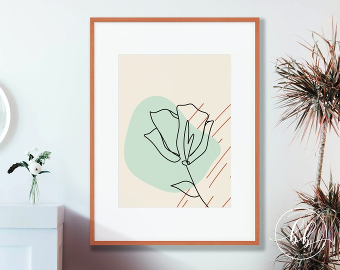 One Line Floral Art Print | Abstract Flower Lineart Digital Wall Art | Terracotta Burnt Sienna & Mint Green | Mid Century Gallery Poster
