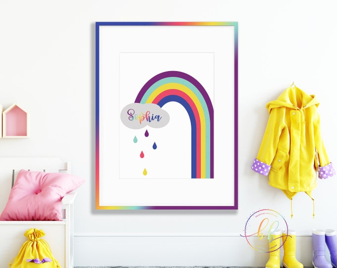 Personalized Rainbow Art Print | Custom Kids Name Digital Wall Art | Colorful Monogrammed Poster for Baby Nursery | Kid's Room Boutique Art