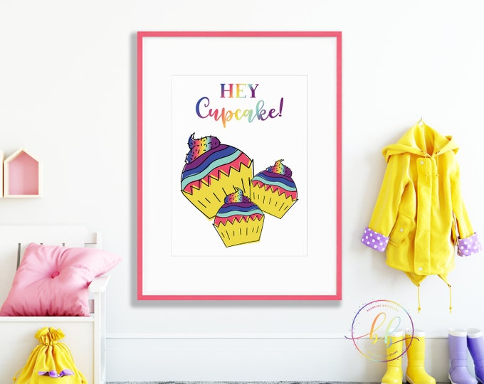 Rainbow Cupcake Nursery Art Print | Trendy Brush Script Hey Cupcake Digital Wall Art | Colorful Cupcakes Poster for Baby or Kids Room Decor
