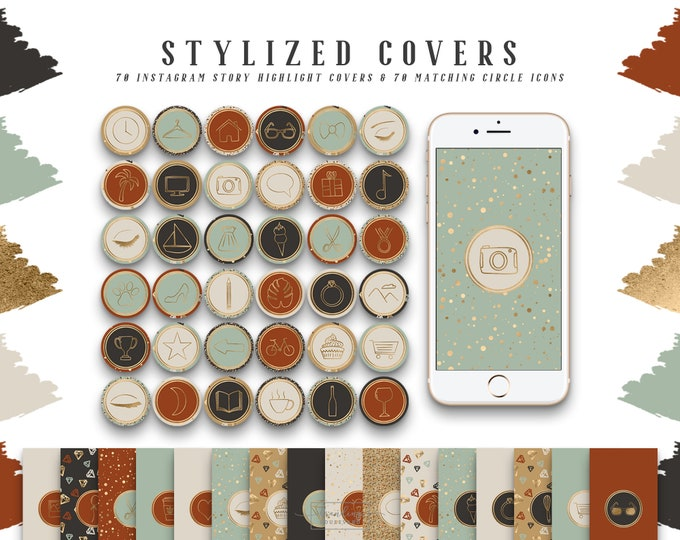Terracotta & Gold Instagram Story Highlight Covers | Fall Social Media Icons Burnt Orange Sienna and Beige | 140 IG Story Highlight Clipart