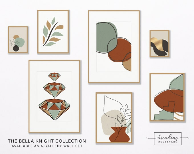 Mid Century Modern Gallery Wall Art Print Set | Abstract One Line Drawing Digital Art | Burnt Orange Sienna Terracotta & Gold Poster Bundle