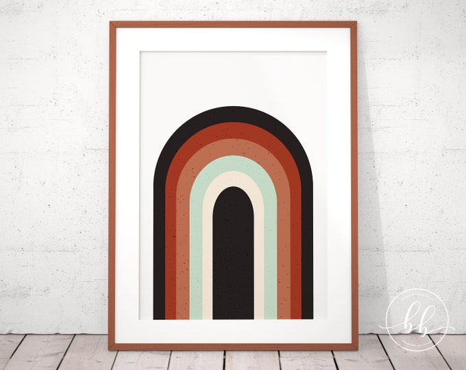 Retro Rainbow Art Print | Mid Century Modern Digital Wall Art | Terracotta Burnt Sienna Rust & Mint Green | Rainbow Art Gallery Wall Poster