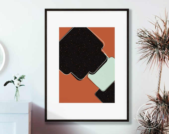 Terracotta Abstract Wall Decor | Burnt Orange Digital Art Print | Sienna & Green Mid Century Modern Home or Office Gallery Wall Art Poster