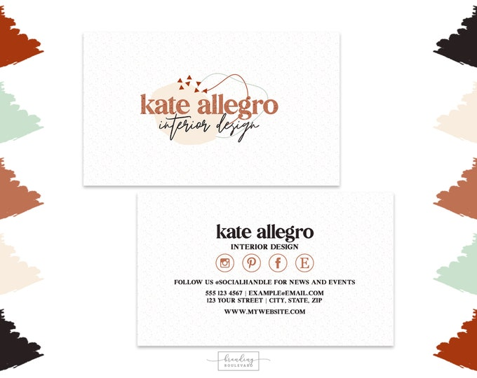 Abstract Shapes Terrazzo Business Card Design |  Social Media Icons Business Cards | Retro Digital Premade Business Cards in Sienna & Green