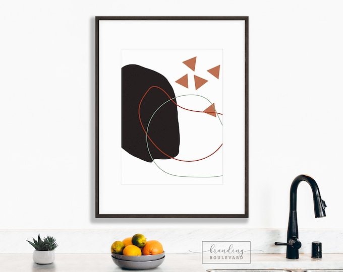 Mid Century Abstract Shapes Art Print | Minimalistic Digital Wall Art | Geometric Triangles Terracotta Burnt Sienna & Green Gallery Poster
