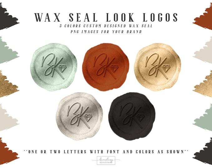 Burnt Sienna Wax Seal Look Logos | Earth Tones Modern Initials Logo | Wax Seal Stamp Logo & Watermarks | Script Letters Logo Design