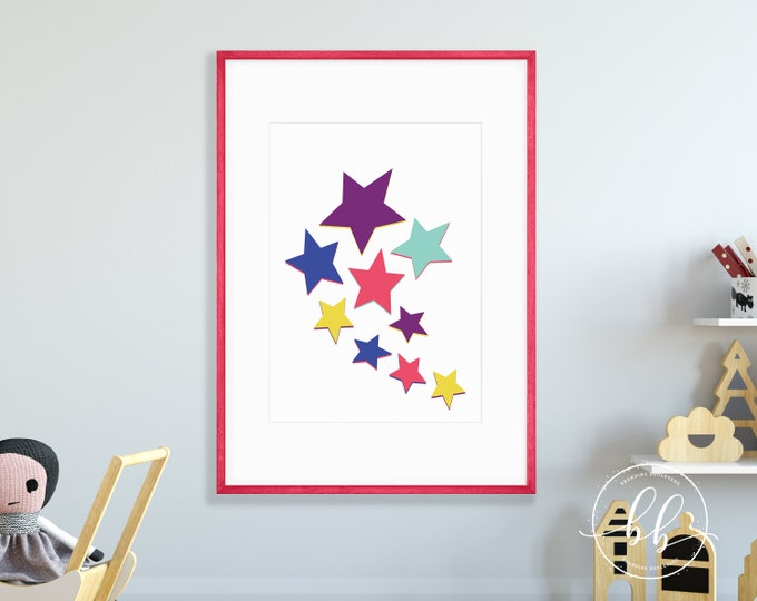 Rainbow Stars Nursery Art Print | Kid's Room Colorful Digital Wall Art | Bright Rainbow Colored Poster for Baby or Kids Room Decor
