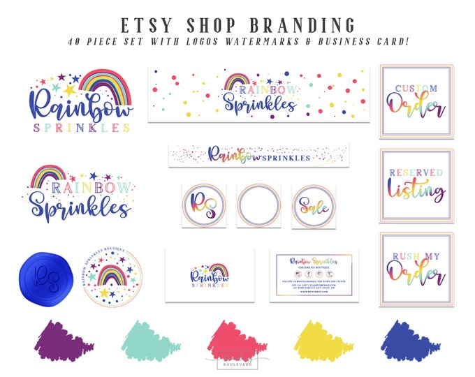 Rainbow Etsy Shop Branding Set | Rainbow Stars & Dots Logo Package | Red Blue Purple Pink Etsy Cover Photo | Kid's Boutique Toy Business