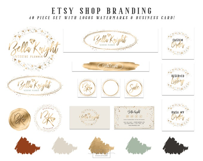 Diamond Gem Etsy Shop Branding Set | Gold Foil Heart Confetti Logo Package | Elegant Terra Cotta Green & Beige Etsy Cover Photo Jewelry Shop