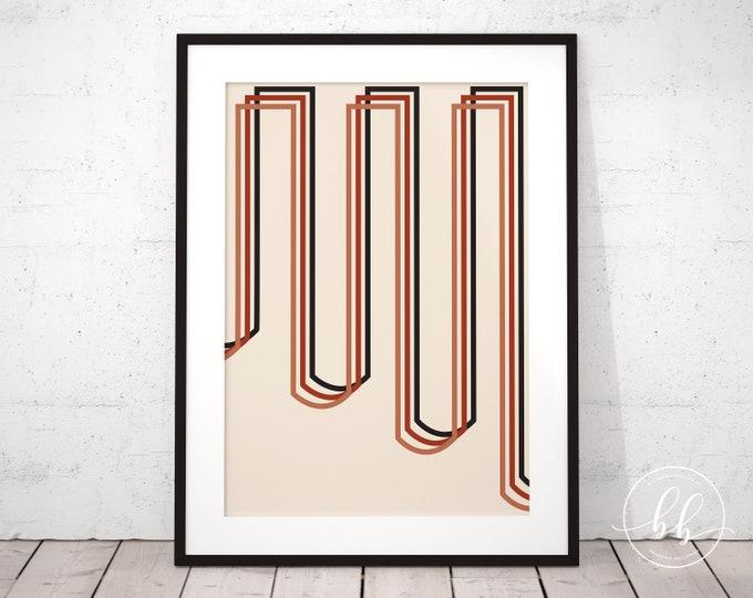 Minimalistic Modern Abstract Lines Art Print | Mid Century Retro Digital Wall Art | Geometric Terracotta Burnt Sienna & Beige Gallery Poster