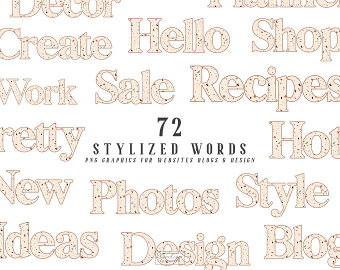 Terrazzo Stylized Words for Websites Blogs or Planners | Burnt Sienna & Beige | Kate Allegro Kit Graphics | Retro Serif Font Canva Clipart