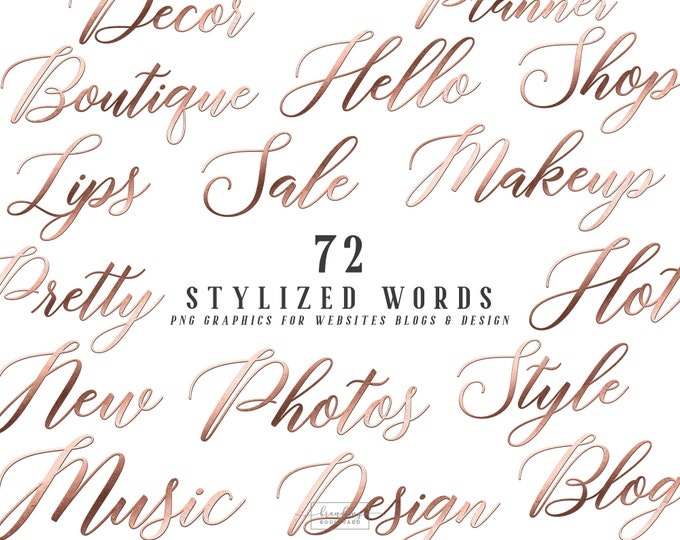 Chic Metallic Rose Gold Stylized Words for Websites Blogs or Planners | Tiffany Styles Graphics | Modern Script Calligraphy Canva Clipart