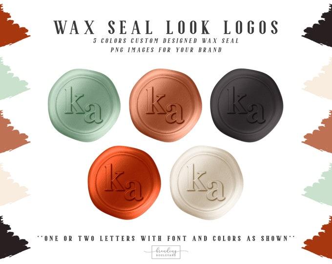 Copper Wax Seal Logo | Terracotta Rust Green & Beige Faux Wax Seal Initials Logo | Wax Seal Stamp Logo and Watermarks | Stylish Brand Logo