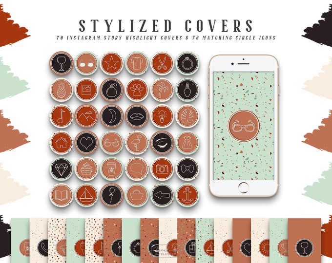 Terrazzo Instagram Story Highlight Covers | Terra Cotta Social Media Icons Burnt Orange Sienna and Beige | 140 IG Story Highlight Clipart