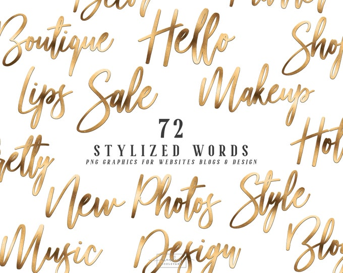 Elegant Metallic Gold Foil Stylized Words for Websites Blogs or Planners   Bella Knight Graphics   Modern Brush Script Canva Clipart