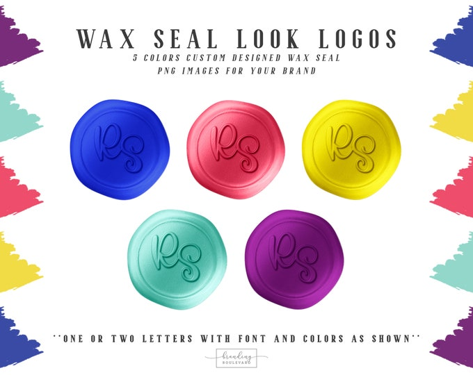 Rainbow Wax Seal Logos | Pink Purple Blue & Yellow Faux Wax Seal Initials Logo | Wax Seal Stamp Logo and Watermarks | Kids Boutique Logo
