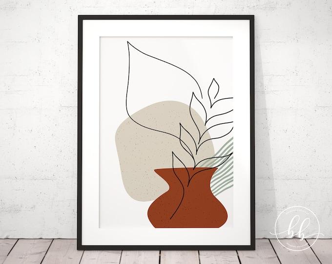 Abstract Vase & Leaf Art Print | Simple Shapes Digital Wall Art | One Line Drawing Mid Century Modern Art Print | Burnt Orange Sienna Colors