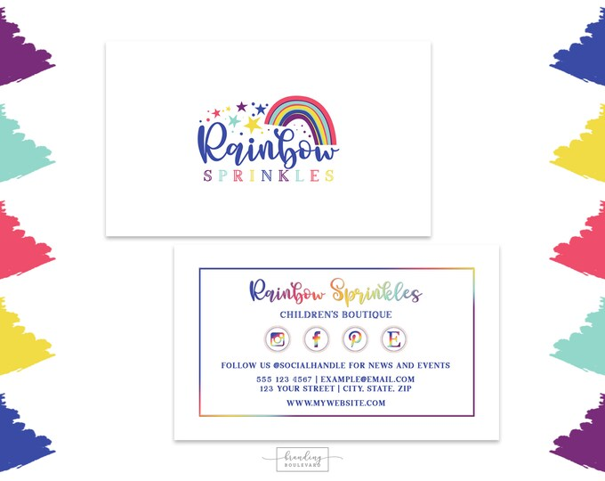 Bright Rainbow Business Card Design |  Rainbow Social Media Icons Business Cards | Colorful Digital Premade Business Cards for Kids Shop