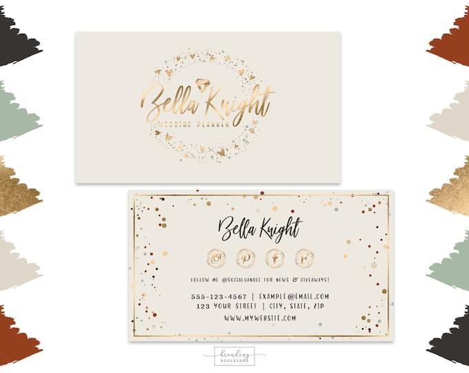 Jewelry or Wedding Shop Business Cards Design    Gold Diamond Gem Business Cards   Modern Gold Confetti Digital Premade Business Cards