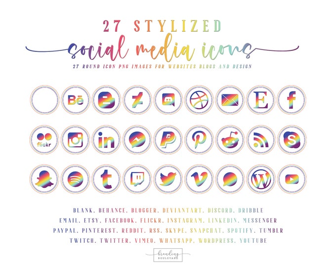 Rainbow Social Media Icons for Websites Blogs Canva | 27 Rainbow Gradient Social Media Clipart Graphics | Instagram Facebook Pinterest