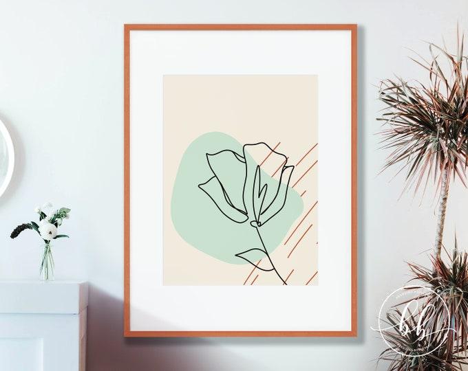 One Line Floral Art Print | Abstract Flower Lineart Digital Wall Art | Terracotta Burnt Sienna & Mint Green | Mid Century Gallery Poster