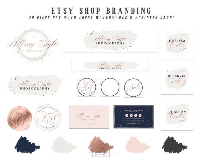 Brush Stroke Etsy Shop Branding Set | Rose Gold Confetti Logo Package | Modern Blush Pink and Navy Blue Etsy Cover Photo Banner & Shop Icons