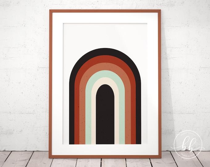 Retro Rainbow Art Print | Mid Century Modern Digital Wall Art | Terracotta Burnt Sienna Rust & Mint Green | Rainbow Art Gallery Wall Poster