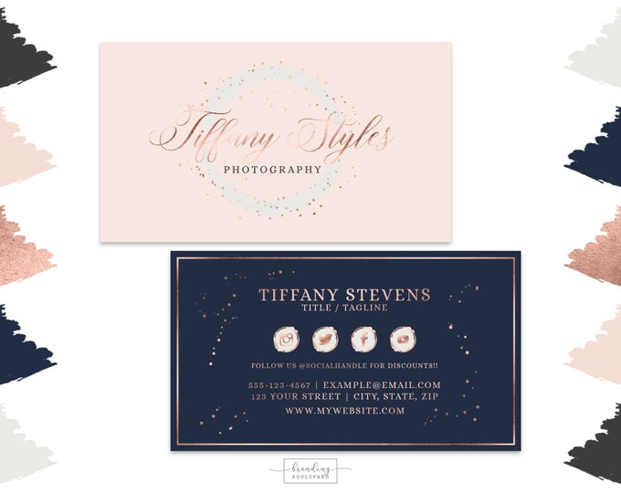 Blush Pink and Navy Blue Business Cards Design    Photography Studio Business Cards   Modern Brush Stroke Digital Premade Business Cards