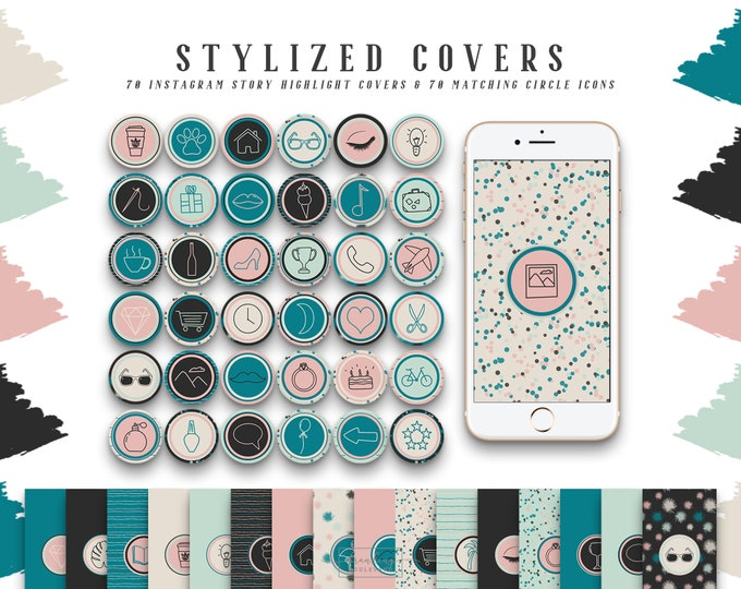 Tropic Breeze Instagram Story Highlight Icons | Social Media Covers in Teal Blue Pink & Mint Green | 140 IG Story Highlight Icons Clipart