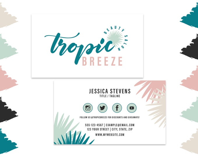 Tropical Leaf Business Cards Design   Tropic Breeze Collection   Teal Pink & Gray Modern Brush Script Digital Premade Beach Business Cards