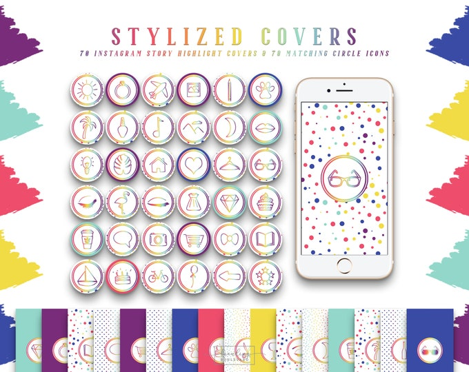 Rainbow Instagram Story Highlight Covers | Colorful Social Media Icons Purple Pink Blue Hearts & Dots | 140 IG Story Highlight Clipart