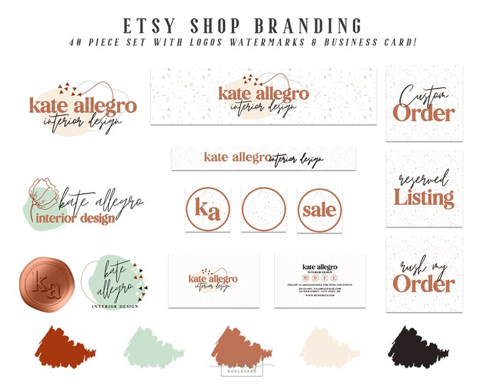 Terrazzo Etsy Shop Branding Set | Abstract Shapes Retro Logo Package | Terracotta Sienna & Beige Triangles Etsy Cover Photo Design Business