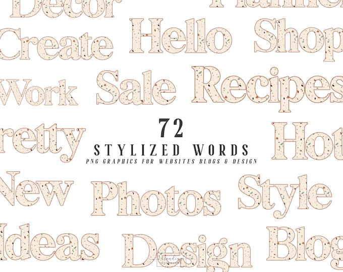 Terrazzo Stylized Words for Websites Blogs or Planners   Burnt Sienna & Beige   Kate Allegro Kit Graphics   Retro Serif Font Canva Clipart