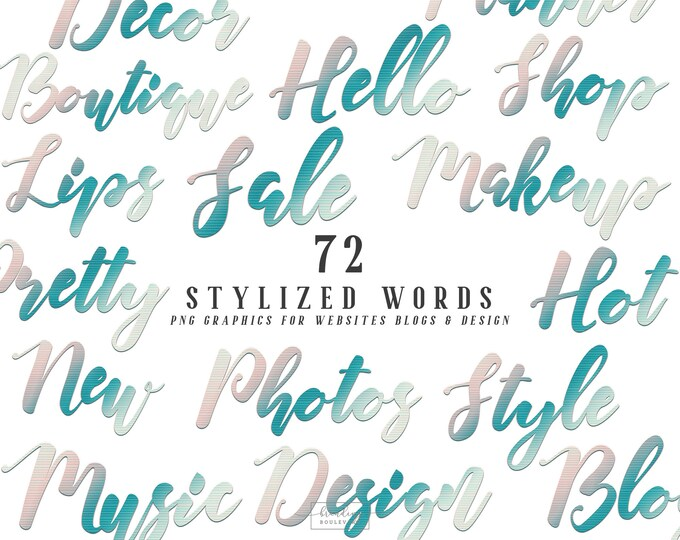 Ombre Tropical Pink Mint & Teal Blue Stylized Words for Websites Blogs or Planners   Tropic Breeze Graphics   Modern Script Canva Clipart