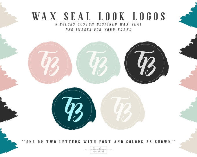 Tropic Breeze Wax Seal Look Logos | Tropical Beach Logos | Trendy Chic Logo Design with Watermarks | Your Two Initial Letters Logo Design