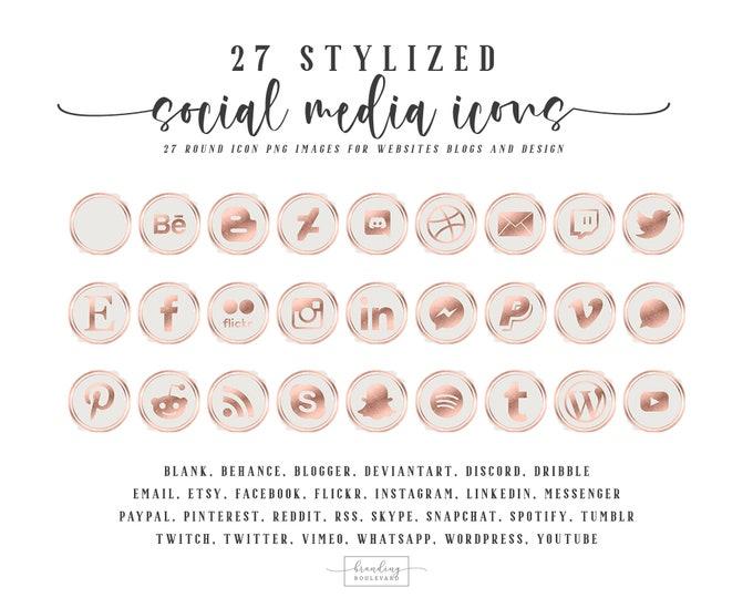 Gorgeous Rose Gold Foil Social Media Icons for Websites Blogs Canva | 27 Social Follow Clipart Graphics | Instagram Facebook Pinterest Etsy