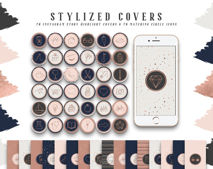 Chic Rose Gold Instagram Story Highlight Covers | Social Media Icons with Blush Pink and Navy Blue | 140 IG Story Highlight Covers Clipart