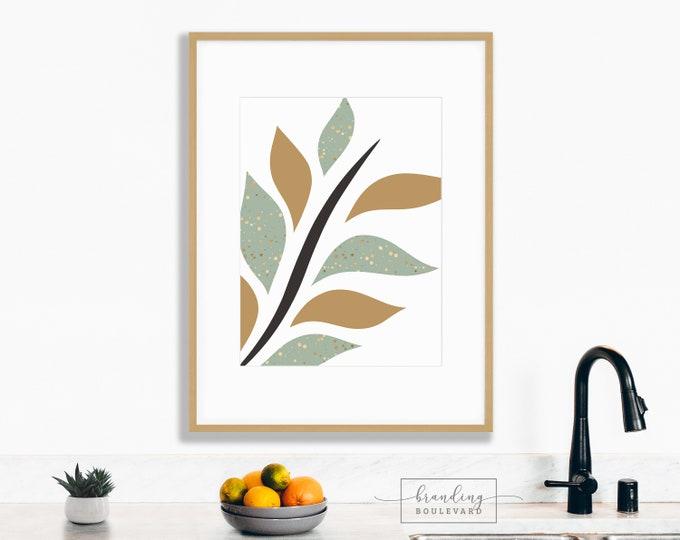 Minimalist Leaf Art Print | Simple Branch Digital Wall Art | Earth Tone Mid Century Modern Gold & Green Art Print | Contemporary Digital Art