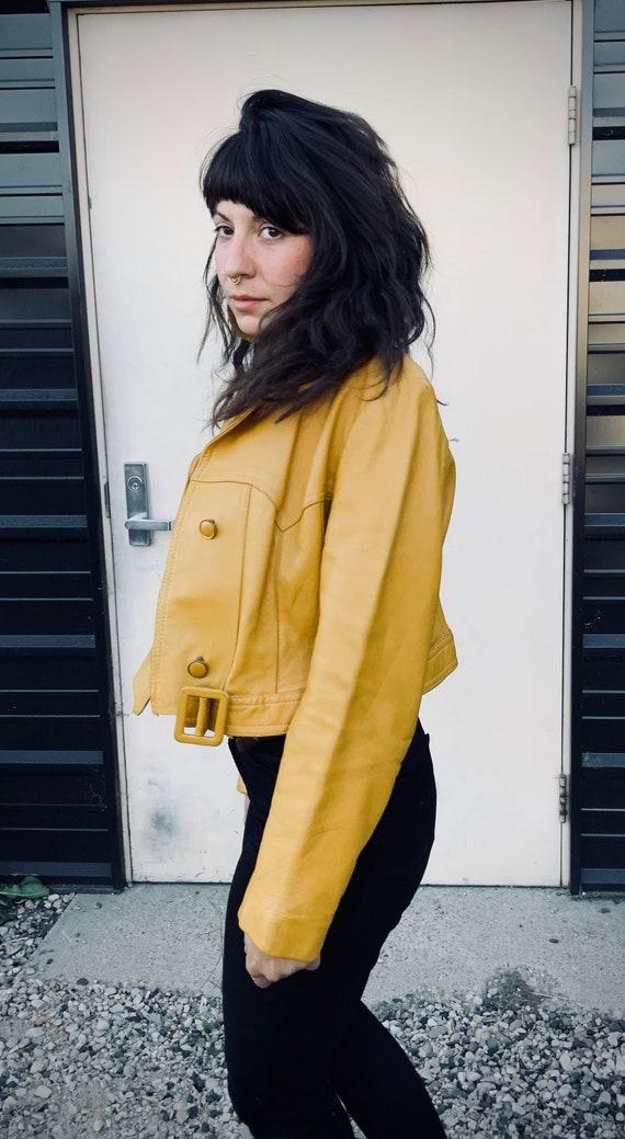 Vintage leather cropped bolero jacket - image 4