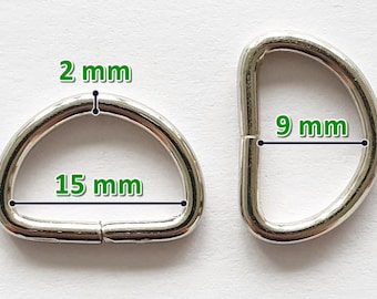 10/20/25 x D-ring 15 mm half ring silver