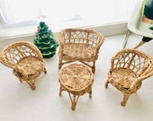 Vintage Wicker Doll Furniture 4-Piece Set Mini Couch Chairs Table Rattan Peacock Boho
