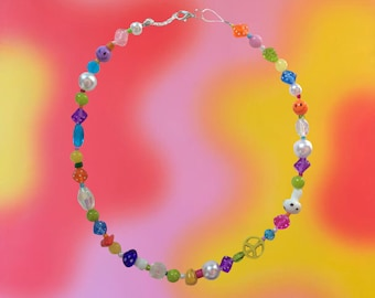 Chunky colorful funky beaded necklace