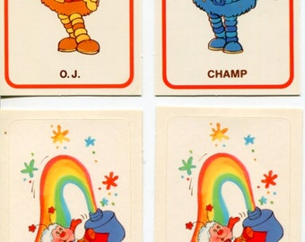 "Vintage 1983 Rainbow Brite Trading Card Stickers LOT OF 4: ""'OJ & Champ"" Plus 2"