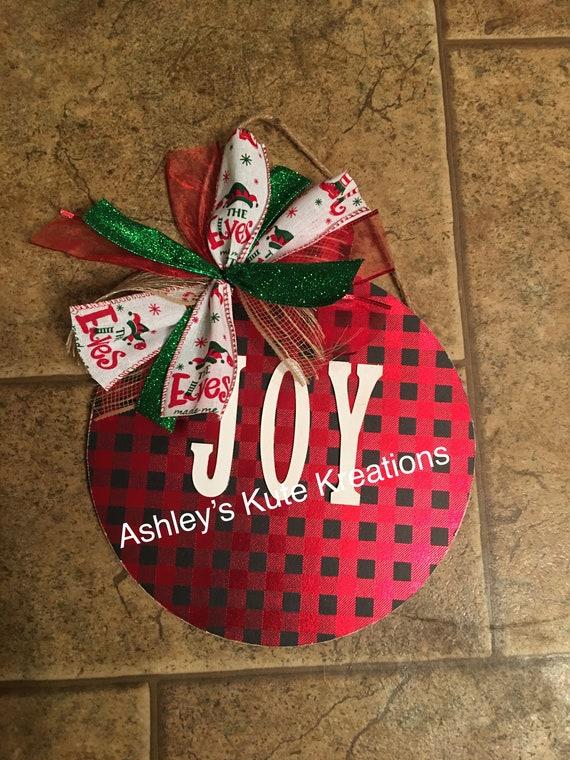 Joy Christmas Ornament Wooden Cutout Etsy