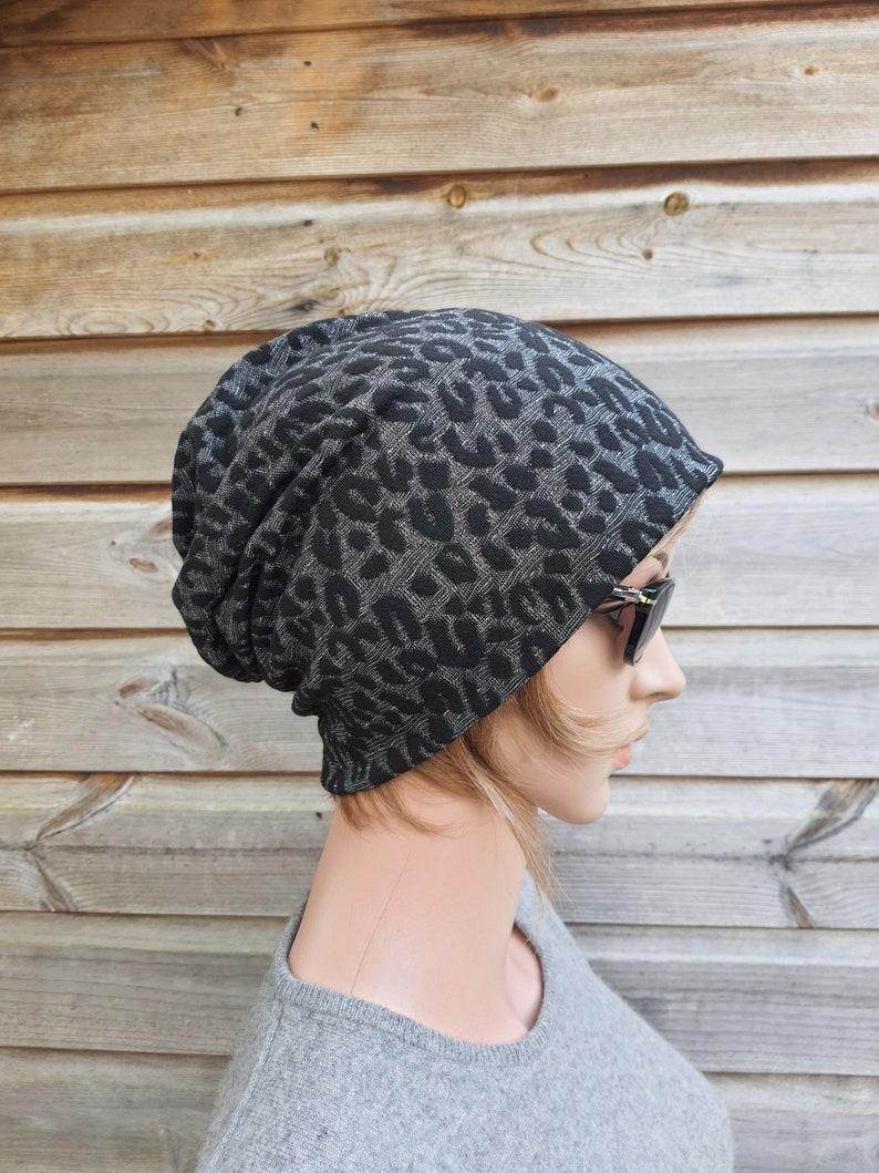 Slouchy Beanie Slouch Hat Women Beanie Jackard Leopard Pattern Black Grey With Silver Fibres Chemo Headwear