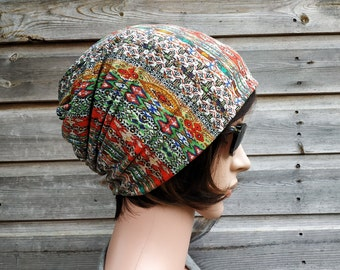 Multicolour Slouchy Beanie Hat, Chemo Headwear, Slouch Hat, Bohemian Style Hat, Lightweight Cotton And Viscose Hat