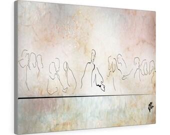 Last Supper, Lords Supper, Leonardo da Vinci Horizontal Framed Premium Art Wall Gallery Wrap Canvas 100% Cotton fabric