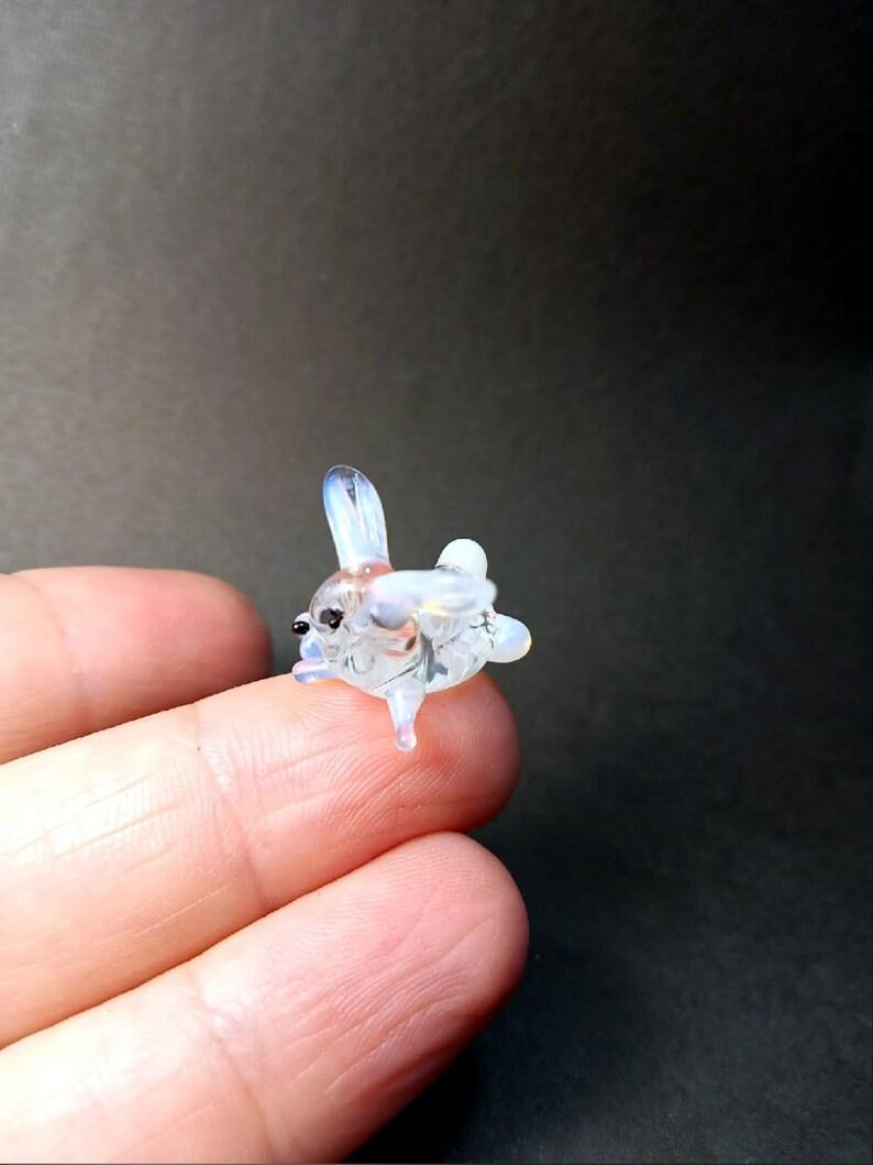 A cute little glass bunny,miniature glass animal bunny,original glass art,cute glass pet,Murano glass figurine,glass figure