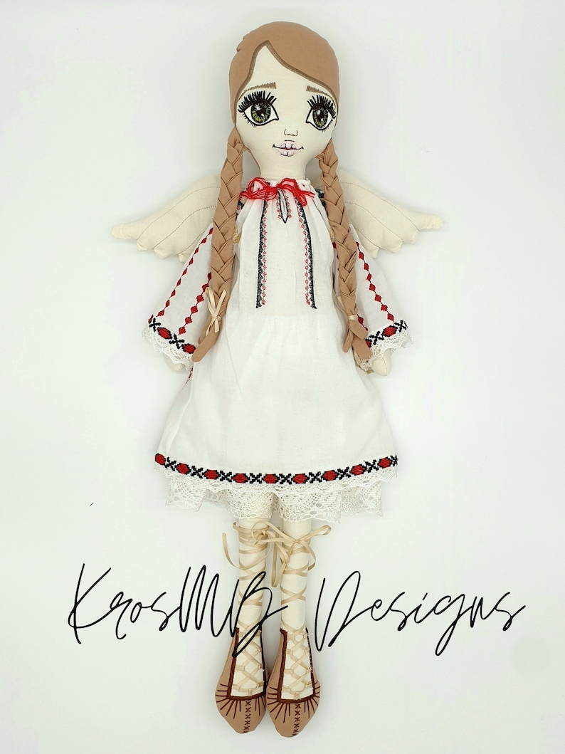 20x30cm hoop button joint Romanian girl rag doll embroidery design 3 sizes ITH 16x26cm hoop 36x36cm hoop in the hoop